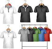 White and colorful t-shirt design template. Clothes hanger with