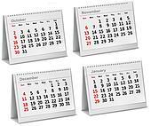 Desktop calendar  October, November, December,  January. Vector