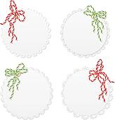 Lace hang tags with bows