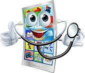 Cartoon phone holding a stethoscope