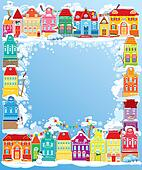Frame with decorative colorful houses. Christmas and New Year ho