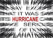 Blured text with focus on HURRICANE