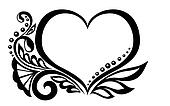 black-and-white symbol of a heart with floral design and butterfly.