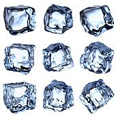 Blue clear ice cubes collection