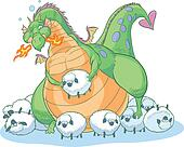 fat cartoon dragon with sheep