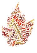 Word Cloud showing words that deal with the Autumn Season