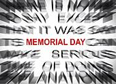 Blured text with focus on MEMORIAL DAY
