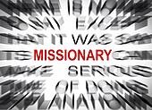 Blured text with focus on MISSIONARY