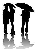 Men and women with umbrellas
