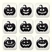 Halloween pumkin vector buttons set