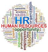 Circular design hr Human resources word tags wordcloud