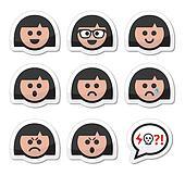 Girl or woman faces, avatar vector