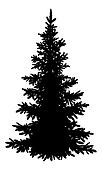 Christmas fir tree, silhouette