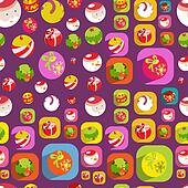 Cute Christmas colorful flat christmas seamless background