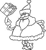 santa with gift cartoon coloring page