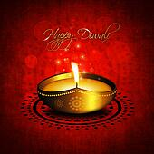 oil lamp with diwali diya greetings