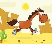 Smiling Horse Character Running