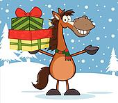 Horse Holding Up A Stack Of Gifts