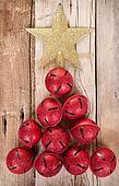 Christmas jingle bells and star shaped like a Christmas tree