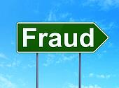 Safety concept: Fraud on road sign background