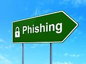 Safety concept: Phishing and Closed Padlock on road sign
