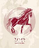 Chinese new year of the Horse abstract shape file.