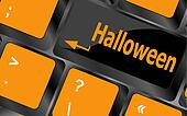halloween word on button of the keyboard key