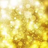 Elegant christmas golden background with snowflakes