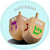 Couple of dreidel as element of Hanukkah festival. Vector illustration