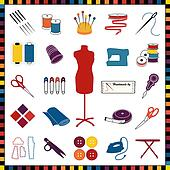 Sewing, Tailoring Icons, Multicolor