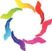 Hands teamwork logo vector