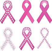 Set of Breast cancer award ribbons