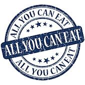 All you can eat grunge blue round stamp