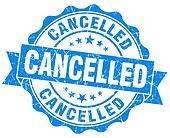 Cancelled grunge round blue seal