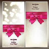 Christmas cards with red gift bow.