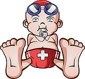Lifeguard Baby Cartoon Character