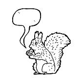 illustrated squirrel with acorn