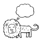 skinny lion cartoon