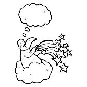 cartoon god on cloud