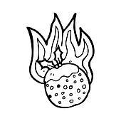flaming christmas pudding cartoon