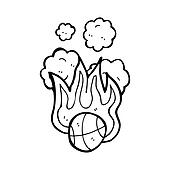 flaming basketball cartoon