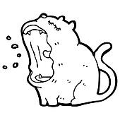 yawning cartoon cat