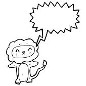 cute lion roaring cartoon