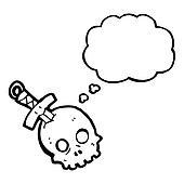 cartoon skull and dagger