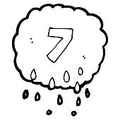 cartoon rain cloud with number seven