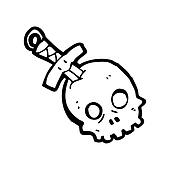 dagger in skull cartoon