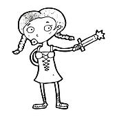 cartoon woman with sword