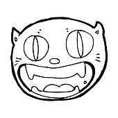 cartoon happy cat face