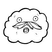 cartoon cloud with mustache