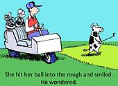 The cow likes to use the course for food